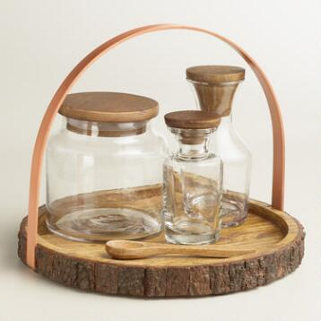 Glass Storage Bottle Set with Rustic Wood Counter Caddy